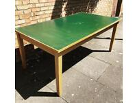 Vintage Midcentury large green top library table desk
