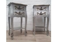 Pair Of Silver Bedside Cabinets (DELIVERY AVAILABLE)