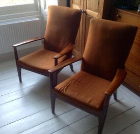 For sale 2 Vintage Retro Design Mid Century Chair Armchairs Parker Knoll c1950 code 988/1023