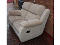 Twin fully reclining sofa made by Harvey's, in a Floral Champagne finish