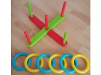 Used KIDS PLASTIC RING TOSS GARDEN SUMMER GAME TOY FUN HOOP THROWING SET