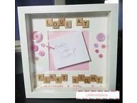 Handmade Box Frames For New Baby!