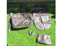 Babymoov Grey Leather Baby Changing Bag