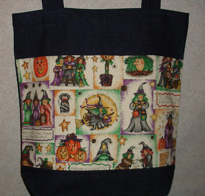 NEW Handmade Halloween Witch Broom Large Treat Tote Bag - Halloween Broom Treats
