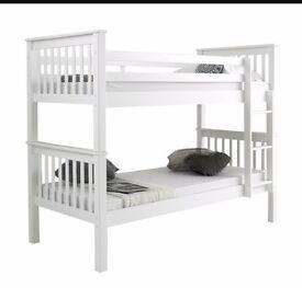 White, wooden single bed frame