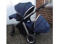 OYSTER MAX DOUBLE pram tandem Oxford blue £800 new 4months old