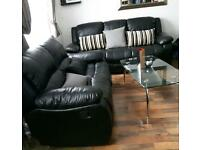 Set of 2 Black Leather Recliner Sofas 2 & 3 Seater
