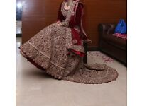 Bridal Lengha Mongas Burgundy Red Velvet Antique Gold Embroidery 3 Piece Bridal Pakistani