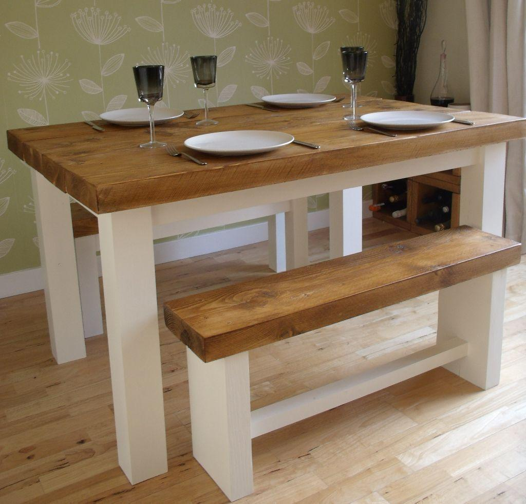 Rustic Shabby Chic Farmhouse Dining Table And Benches In