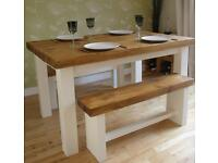 Rustic shabby chic farmhouse dining table and benches
