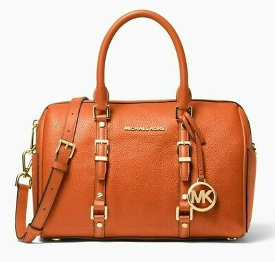 NWT MICHAEL KORS BEDFORD LEGACY Medium Duffle Satchel In BURNT ORANGE Leather