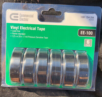 6 Roll 12 In. X 20 Ft. Electrical Tape Black 6 Pieces New Sealed