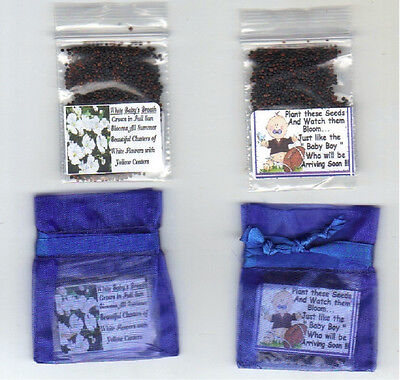 - 25 BABY BOY FOOTBALL THEME/BABYS BREATH SEED Favors + POEM + FREE SHIPPING
