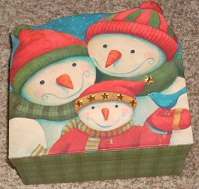 Vintage The Lindy Bowman Christmas Snowman Gift Box Hard Cardboard Longs Drugs