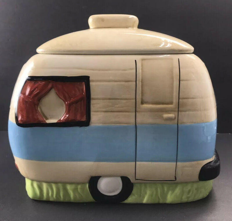 Camper Van retro Ceramic COOKIE JAR vintage-style design New Happy Camper