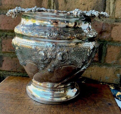 Antique English  Silver Plate Cache Pot Planter Flower Pot