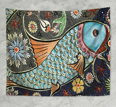 - US SELLER-simple tapestry artistic fish wall hanging tapestry