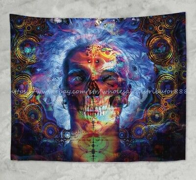 US SELLER-psychedelic trippy skull wall hanging tapestry inexpensive home decor (Inexpensive Home Decor)