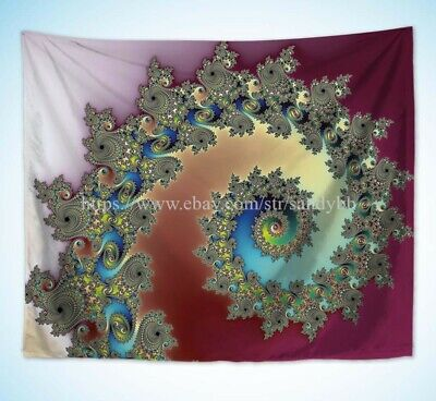 US Seller- hippie fractal  cheap wall decor psychedelic trippy art wall tapestry - Cheap Hippie Decor