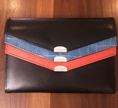 SAMSONITE WOMEN'S TRI COLOR WALLET 3 COMPARTMENTS VINTAGE CLUTCH PURSE LEATHER