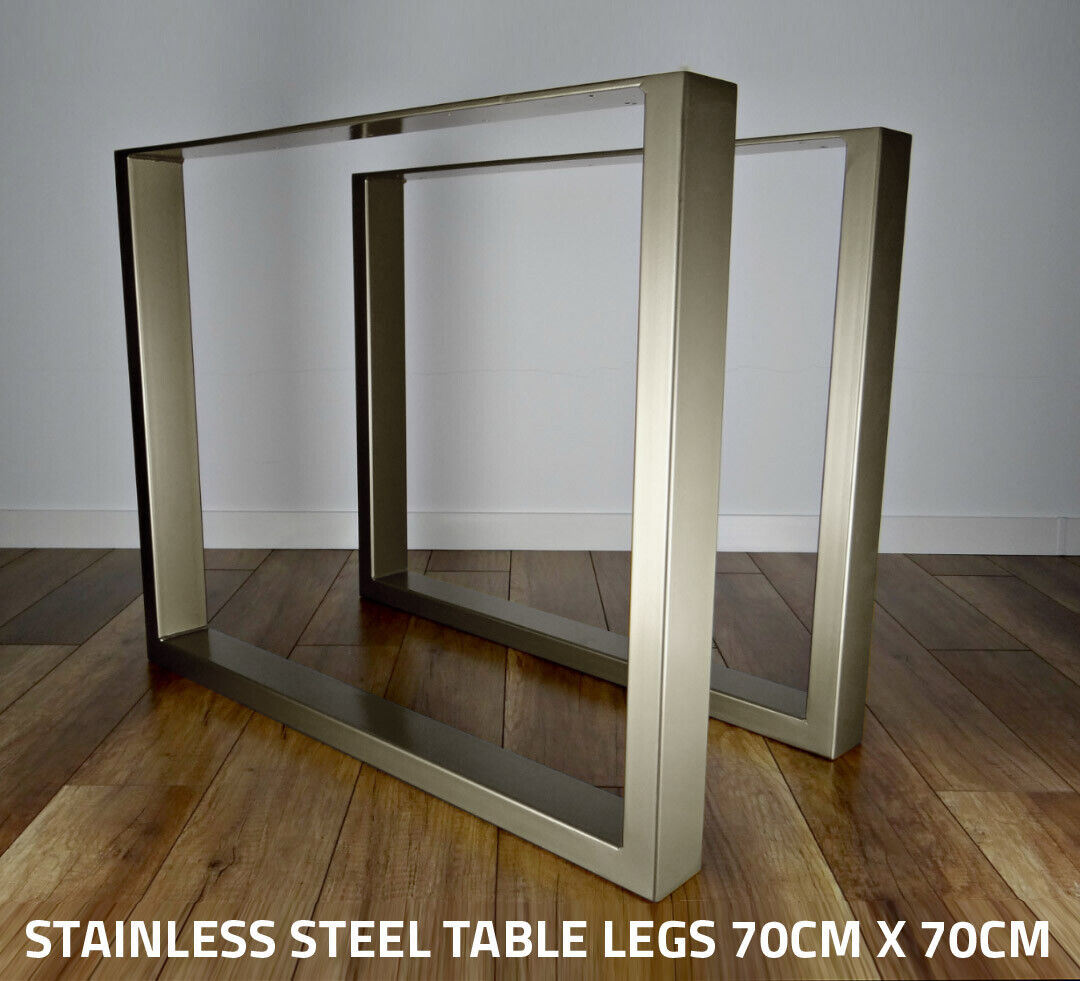 Details about 8 x STAINLESS STEEL Metal Table Legs - Box Chunky /  Industrial / Dining / Wooden
