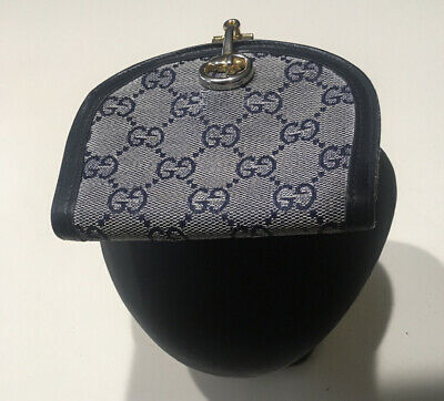 GUCCI Vintage Rare and Unusual Navy/Cream Fabric and Leather Wallet