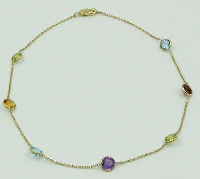 Multicolor Gemstones 10 Inches Anklet 14k Yellow Gold Chain with Lobster Lock
