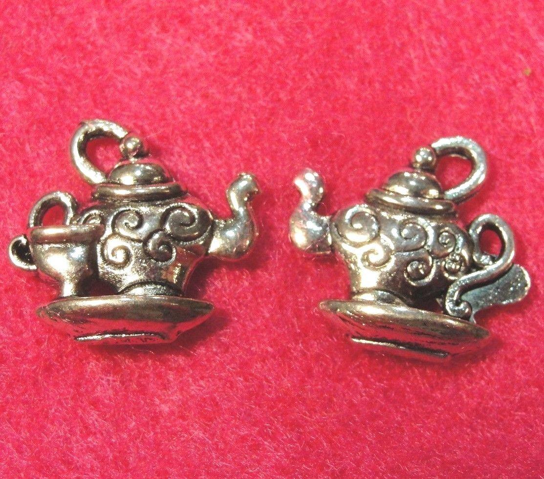 50Pcs. WHOLESALE Tibetan Silver TEAPOT CUP Charms Pendants Findings Q0065 - $12.49