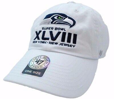 fb0dc20b59e8a Seattle Seahawks 47 Brand NFL Football Super Bowl XLVIII White Team Logo Cap  Hat