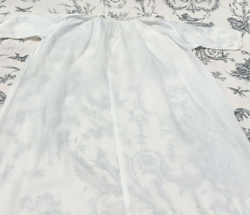 Vintage Christening Gown/Doll Dress 100% White Cotton Lace Pin Tucks Handmade
