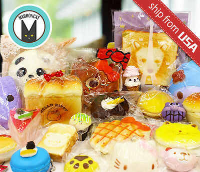 Lot 10 Kawaii Cute Squishies Bun Kitty Cat cake Toast Donut Bread Squishy charm