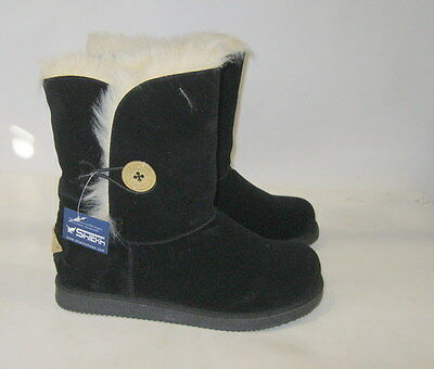 new ladies Black Winter Flat Ankle Boot Fur Inside/Gold Button Size 5.5