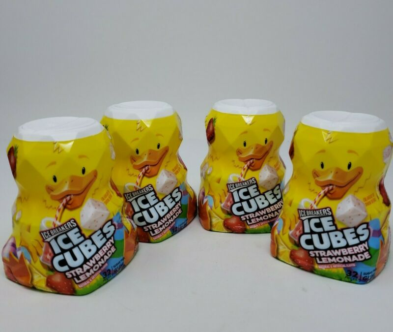 Ice Breakers Ice Cubes Strawberry Lemonade Gum 4-Pack Sugar-Free Exp 01/22 c1