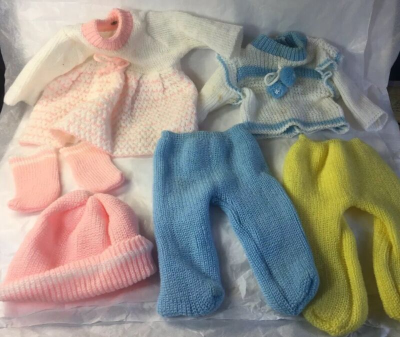 """Lot 6 VTG Baby Doll Clothes Hand-knit Pink Blue Dress Set Fits 11"""" to 13"""" Dolls"""