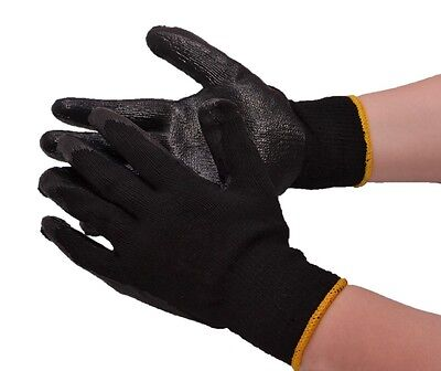 30-PAIR BLACK LATEX RUBBER COATED DIPPED PALM STRING KNIT WORK GLOVES LARGE - Latex Palm Coated Knit Gloves