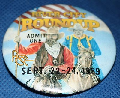 1989 RIVER CITY ROUNDUP Omaha NEBRASKA Admit One WESTERN COWBOYS Flag RCR Rodeo