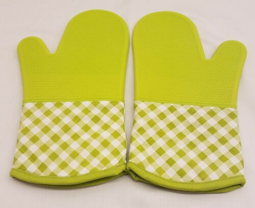Silicone Oven Mitts Heat Resistant 450 F Plaid Pattern Cooki