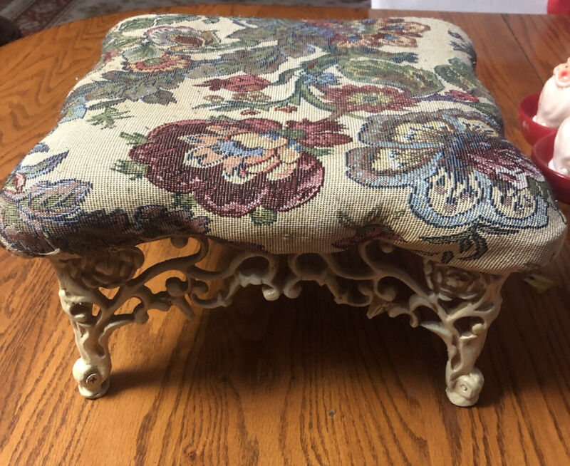 Antique Inspired Foot Stool Cast Iron Base w/Floral Cloth Padded Top FREE SHIP