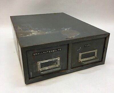 Vtg Steelmaster Metal 2 Drawer Toollibrary Index Card File Cabinet-stackable