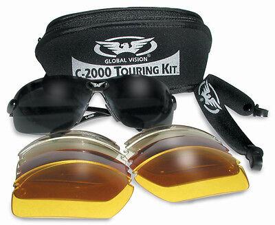 Motocicleta Touring Kit - Gafas de sol/CRISTAL - 5 Intercambiables Lentes+bolsa