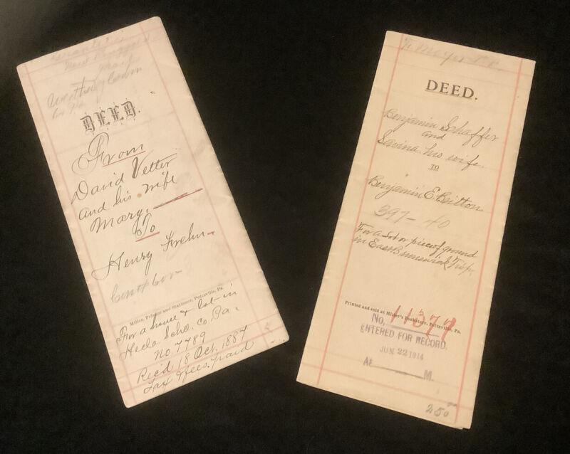Vintage Schuylkill County Deeds 1887 & 1914 Historical Euphemera