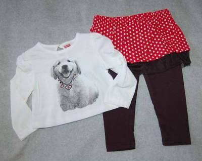Toddler Girls Outfit WHITE L/S SHIRT Puppy Dog SKIRTED LEGGINGS Red Black Dot 3T