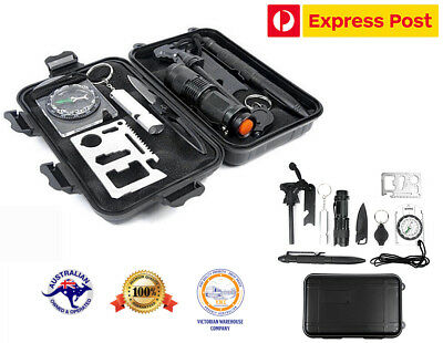 9 in 1 Outdoor Survival Kit First Aid Tool Hiking Camping Rescue Gear Emergency ()