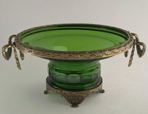 ANTIQUE BRONZE MOUNTED GREEN GLASS BOWL VASE GERMANY