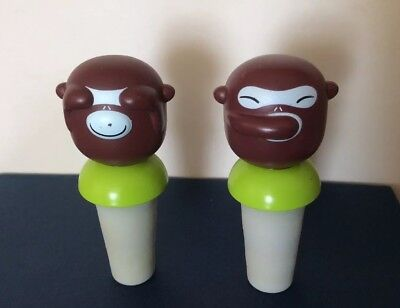 A di ALESSI 2 Banana Boys Monkey Bottle Stoppers Hand Decorated Alessi Banana