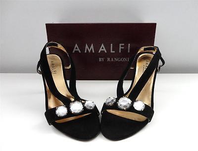 - $230 AMALFI New Black Cashmere Red Leather High Heels Slingback Sandals Size 8 N