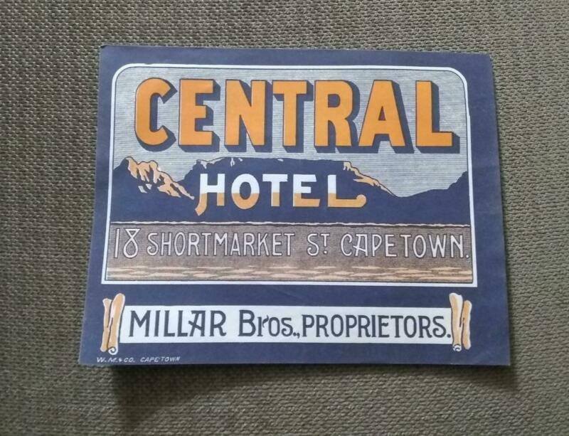 1910 CENTRAL HOTEL CAPETOWN SOUTH AFRICA LUGGAGE LABEL SOUSA BAND WORLD TOUR
