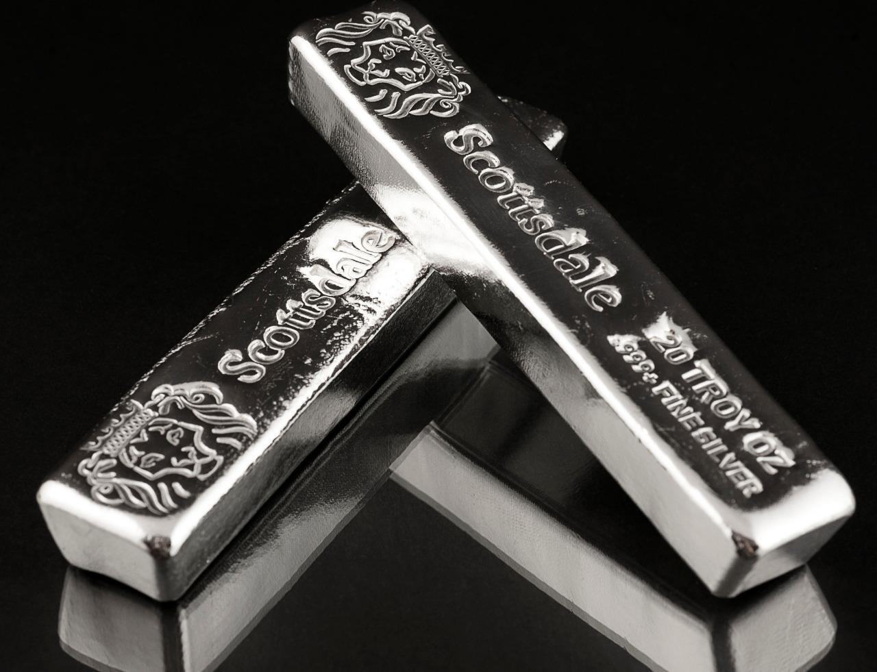 20 Oz 999 Silver Bullion Long Cast Bar By Scottsdale Mint