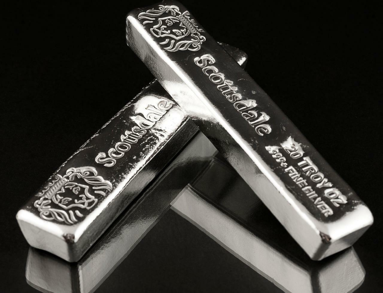 SPECIAL PRICE! 20 oz .999 Silver Bullion Long Cast Bar by Scottsdale Mint #A397