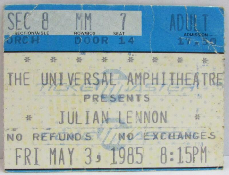 Julian Lennon At The Universal Amphitheatre Used Concert Ticket ~104~